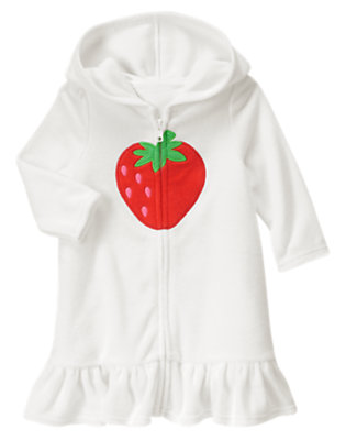 White Strawberry Terry Swim Cover-Up by Gymboree