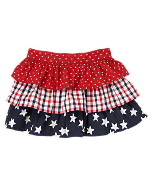 Toddler Girls Flag Red All-American Tiered Skirt by Gymboree