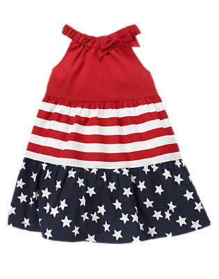 Toddler Girls Flag Red All-American Bow Dress by Gymboree