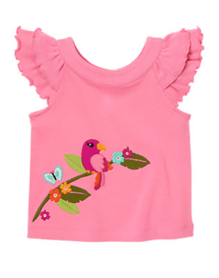 Flamingo Pink Parrot Ruffle Tee by Gymboree