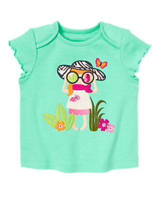 Bright Mint Green Safari Girl Tee by Gymboree