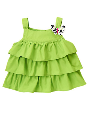 Parrot Green Butterfly Ruffle Top by Gymboree