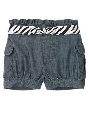 Toddler Girls Chambray Zebra Belt Chambray Cargo Short by Gymboree