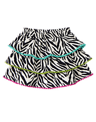 Toddler Girls Ivory Zebra Zebra Tiered Pom Pom Skirt by Gymboree