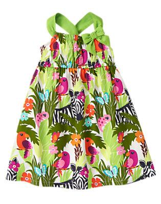 Toddler Girls Green Jungle Zebra Jungle Dress by Gymboree