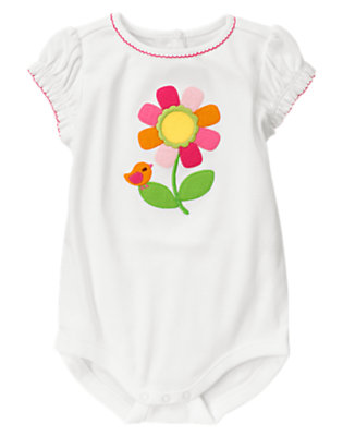 Baby White Flower Bodysuit by Gymboree