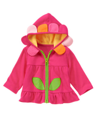 Baby Dark Pink Flower Hooded Cardigan by Gymboree