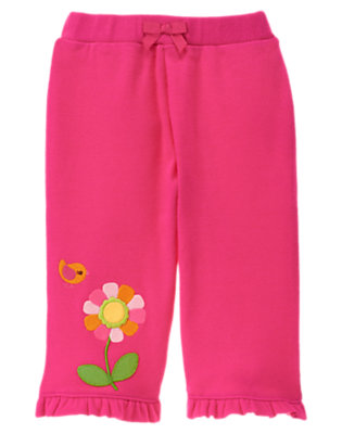 Baby Dark Pink Flower Ruffle Pant by Gymboree