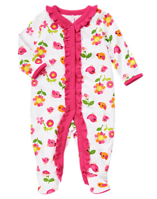 Baby Bird Floral Bird Flower Footed One-Piece by Gymboree