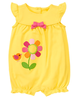 Baby Yellow Bird Flower Bubble One-Piece by Gymboree