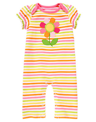 Baby Pink Stripe Flower Stripe One-Piece by Gymboree