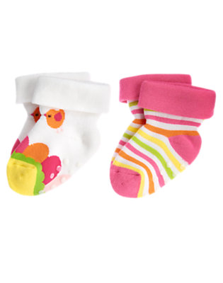 Baby Pink Stripe Flower Stripe Sock Two-Pack by Gymboree