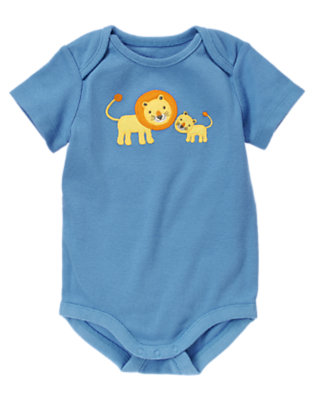 Baby Blue Lions Bodysuit by Gymboree
