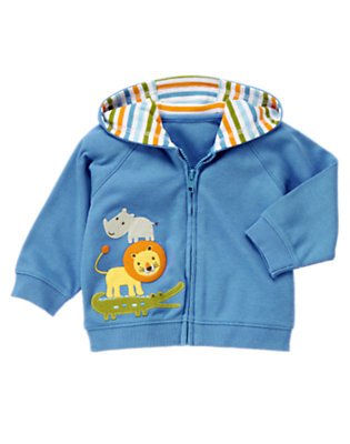 Baby Blue Lion Hooded Cardigan by Gymboree