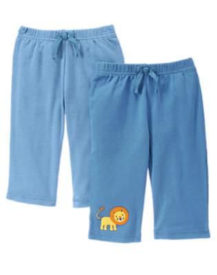 Baby Blue Stripe Lion Stripe Pant Two-Pack by Gymboree