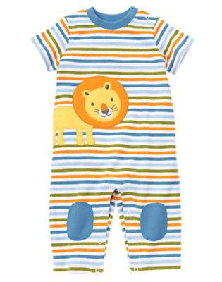 Baby Blue Stripe Lion Stripe One-Piece by Gymboree