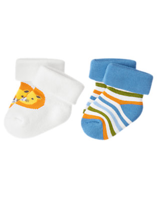 Baby White/Blue Stripe Lion Stripe Sock Two-Pack by Gymboree