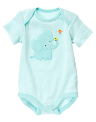 Baby Aqua Stripe Elephant Stripe Bodysuit by Gymboree