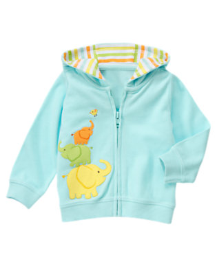 Baby Blue Pastel Elephant Friends Hooded Cardigan by Gymboree
