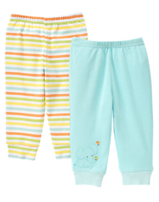 Baby Aqua Stripe Elephant Stripe Pant Two-Pack by Gymboree