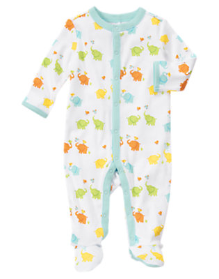 Baby Blue Pastel Playful Elephants One-Piece by Gymboree