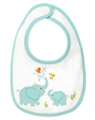 Baby Blue Pastel Happy Elephants Reversible Bib by Gymboree