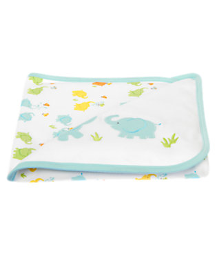 Baby Blue Pastel Baby Elephant Reversible Blanket by Gymboree