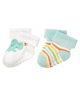 Baby Blue Stripes Happy Elephants Socks Two-Pack by Gymboree