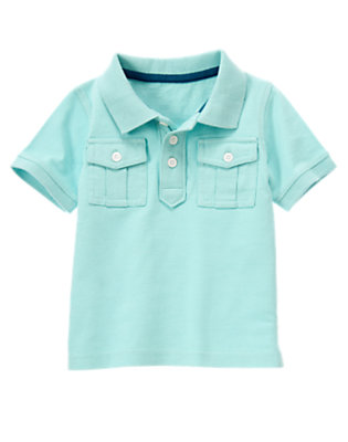 Toddler Boys Wave Blue Pocket Polo Shirt by Gymboree
