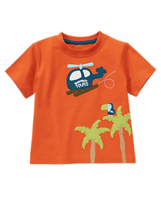 Ochre Orange Rain Forest Tours Helicopter Tee by Gymboree