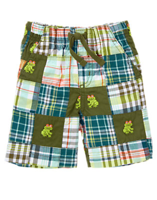 Iguana Green Patchwork Tree Frog Plaid Patchwork Short by Gymboree