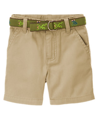 Khaki Tree Frogs Belted Short by Gymboree
