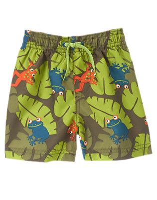Frog Green Leaf Tree Frog Leaf Swim Trunk by Gymboree