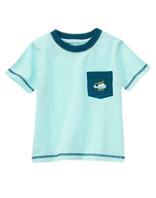 Wave Blue Helicopter Pocket Tee by Gymboree