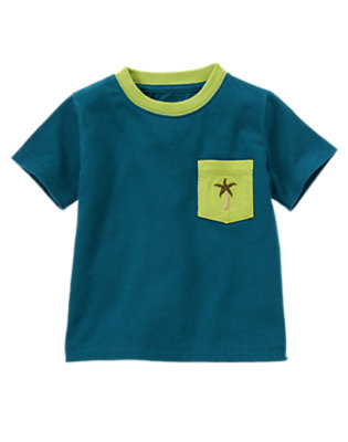Helicopter Blue Palm Tree Pocket Tee by Gymboree