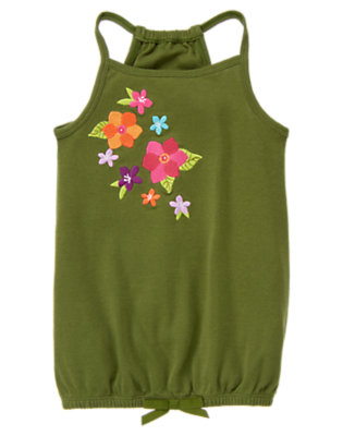 Moss Green Cascading Flower Tank by Gymboree