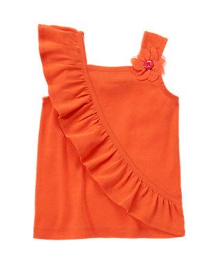 Tangerine Orange Button Corsage Flower Ruffle Tank by Gymboree