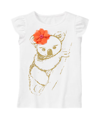 White Glitter Koala Corsage Flower Tee by Gymboree