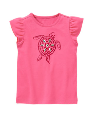Hibiscus Pink Gem Glitter Turtle Tee by Gymboree