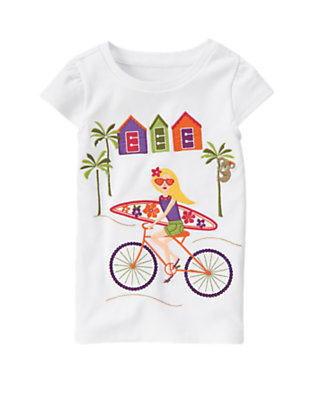 White Sequin Surfer Girl Tee by Gymboree