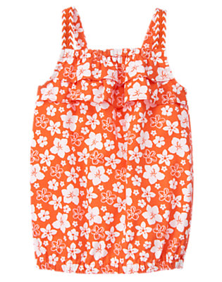 Hibiscus Orange Floral Hibiscus Ruffle Tank by Gymboree