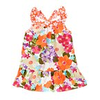 Tropical Flower Mixed Print Ruffle Tank