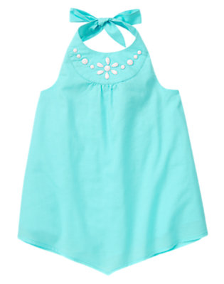 Girls Dolphin Blue Bead Halter Top by Gymboree