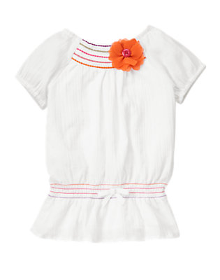 Girls White Button Corsage Flower Gauze Top by Gymboree