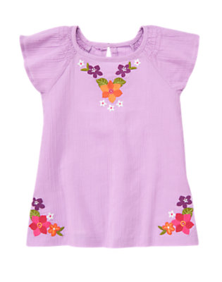 Girls Amethyst Purple Embroidered Flower Gauze Top by Gymboree