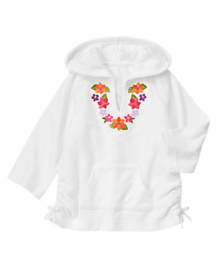Girls White Embroidered Flower Terry Hoodie by Gymboree