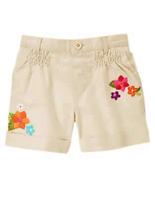 Girls Linen Flower Linen Blend Short by Gymboree