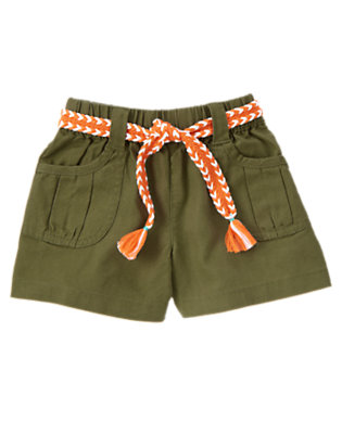 Girls Moss Green Braided Belt Linen Blend Short by Gymboree