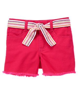 Girls Tropical Pink Embroidered Belted Denim Short by Gymboree