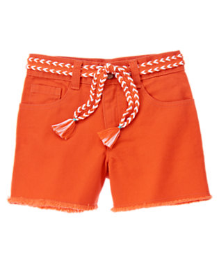 Girls Tangerine Orange Braided Belt Denim Short by Gymboree